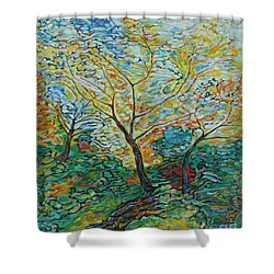 Golden Ash Trees 2 Shower Curtain
