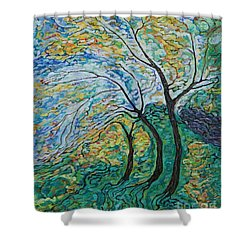 Golden Ash Trees 1 Shower Curtain