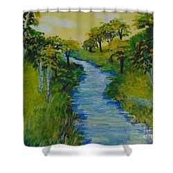 Shower Curtain featuring the painting Golden Aspens by Saundra Johnson