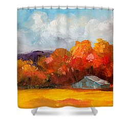Golden Autumn Blue Country Horse Barn Shower Curtain