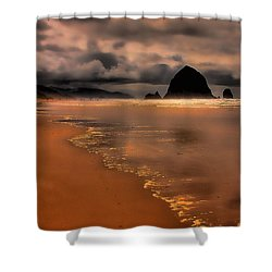 Golden Beach Shower Curtain by David Patterson