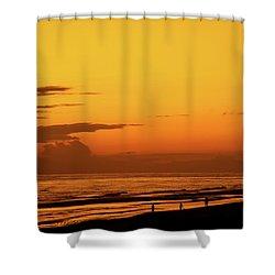 Golden Beach Sunset Shower Curtain