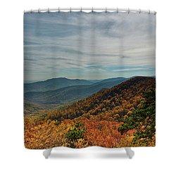 Golden Blue Ridge Under The Clouds Shower Curtain by Lara Ellis