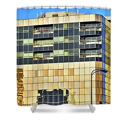Golden Building In Anchorage Shower Curtain