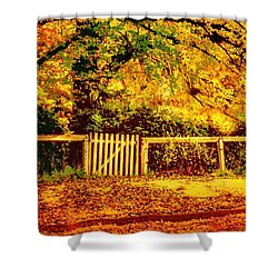 Shower Curtain featuring the photograph Golden Carpet by Wallaroo Images
