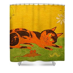 Golden Cat Reclining Shower Curtain