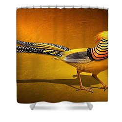 Golden Chinese Pheasant Shower Curtain