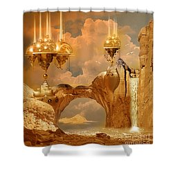 Shower Curtain featuring the digital art Golden City by Alexa Szlavics