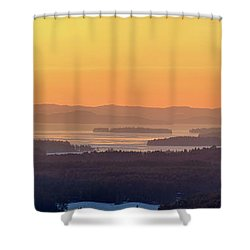 Shower Curtain featuring the photograph Golden Dawn Over Squam And Winnipesaukee by Sebastien Coursol
