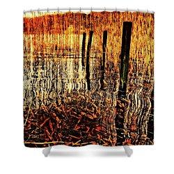 Golden Decay Shower Curtain by Meirion Matthias