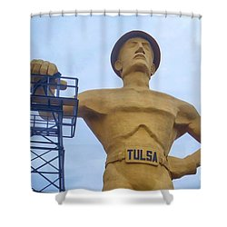 Golden Driller 76 Feet Tall Shower Curtain