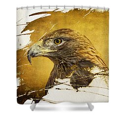 Golden Eagle Grunge Portrait Shower Curtain