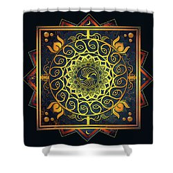 Golden Filigree Mandala Shower Curtain by Deborah Smith