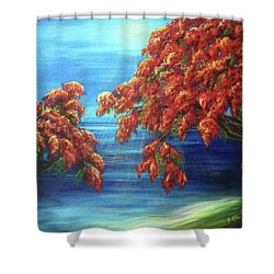 Golden Flame Tree Shower Curtain