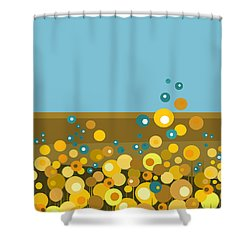 Golden  Flowers Shower Curtain by Val Arie