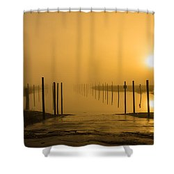 Golden Fog On The Nissequogue Shower Curtain