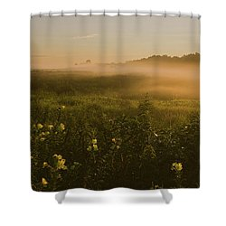 Golden Fog Sunrise At The Refuge Shower Curtain by Angelo Marcialis