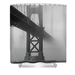 Shower Curtain featuring the photograph Golden Gate Bridge Fog - Black And White by Stephen Holst