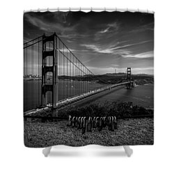 Golden Gate Bridge Locks Of Love Shower Curtain