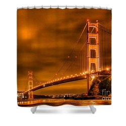 Shower Curtain featuring the photograph Golden Gate Bridge - Nightside by Jim Carrell