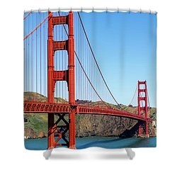 Golden Gate Bridge On Sunny Morning Shower Curtain by Teri Virbickis