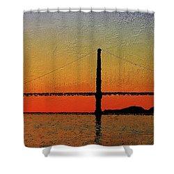 Shower Curtain featuring the digital art Golden Gate Bridge Panoramic by PixBreak Art
