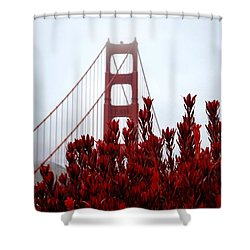 Golden Gate Bridge Red Flowers Shower Curtain by Matt Harang