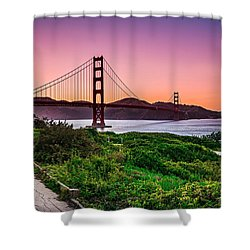 Golden Gate Bridge San Francisco California At Sunset Shower Curtain