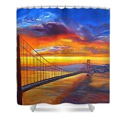 Golden Gate Bridge Sunset Shower Curtain by LaVonne Hand