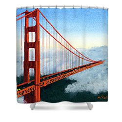 Golden Gate Bridge Sunset Shower Curtain by Mike Robles