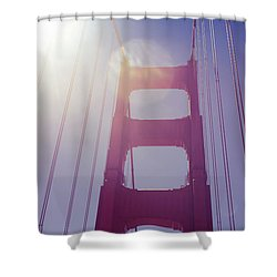 Shower Curtain featuring the photograph Golden Gate Bridge The Iconic Landmark Of San Francisco by Jingjits Photography