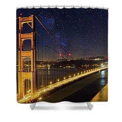 Golden Gate Bridge Under The Starry Night Sky Shower Curtain by David Gn