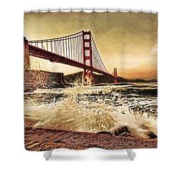 Golden Gate Bridge Waves Shower Curtain