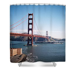 Golden Gate Bridge With Aircraft Carrier Shower Curtain