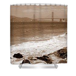 Golden Gate Bridge With Shore - Sepia Shower Curtain by Carol Groenen