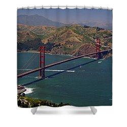 Golden Gate Shower Curtain by Donna Blackhall