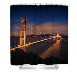 Golden Gate Shower Curtain by Edgars Erglis