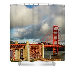 Shower Curtain featuring the photograph Golden Gate From Above Ft. Point by Bill Gallagher