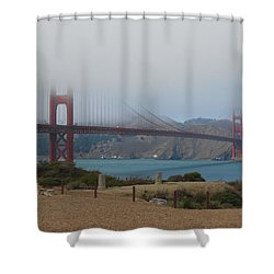 Golden Gate In The Clouds Shower Curtain