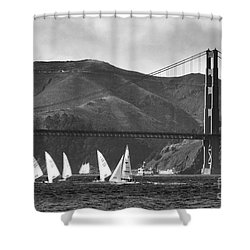 Golden Gate Seascape Shower Curtain