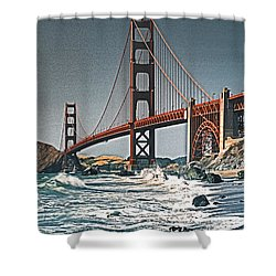 Golden Gate Surf Shower Curtain by Dennis Cox WorldViews