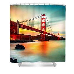 Golden Gateway Shower Curtain by Az Jackson