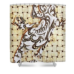 Shower Curtain featuring the painting Golden Gecko by J- J- Espinoza