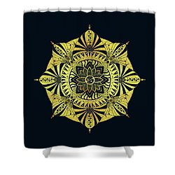 Shower Curtain featuring the drawing Golden Geometry by Deborah Smith