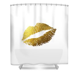 Gold Lips Shower Curtain by BONB Creative