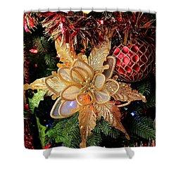 Golden Glitter Christmas Ornaments Shower Curtain