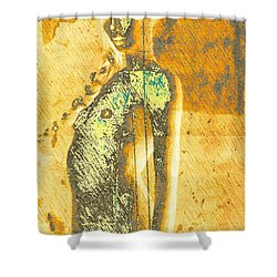 Golden Graffiti Shower Curtain by Andrea Barbieri