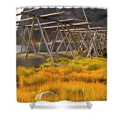 Golden Gras And Fish Drying Rack Shower Curtain by Heiko Koehrer-Wagner