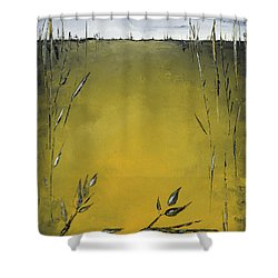 Golden Greens Shower Curtain by Carolyn Doe