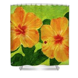 Golden Hawaii Hibiscus Flower #25 Shower Curtain by Donald k Hall